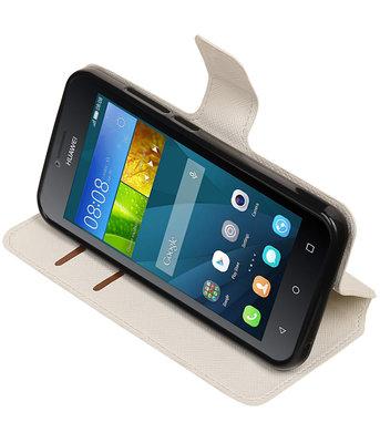Wit Hoesje voor Huawei Y560 / Y5 TPU wallet case booktype HM Book