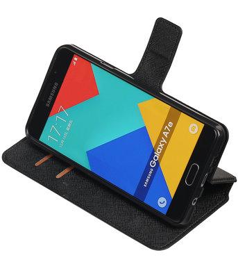 Zwart Hoesje voor Samsung Galaxy A7 2016 TPU wallet case booktype HM Book