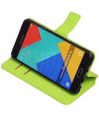 Groen Hoesje voor Samsung Galaxy A7 2016 TPU wallet case booktype HM Book