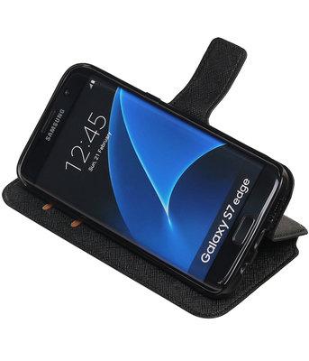 Zwart Hoesje voor Samsung Galaxy S7 Edge TPU wallet case booktype HM Book
