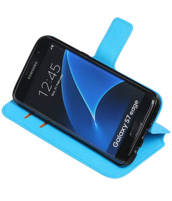 Blauw Hoesje voor Samsung Galaxy S7 Edge TPU wallet case booktype HM Book