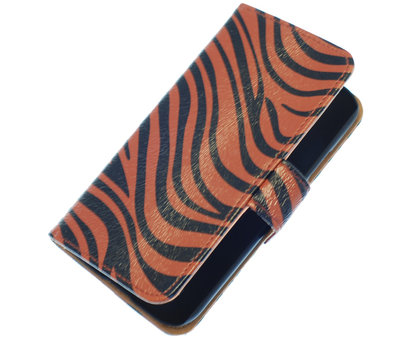 Hoesje voor HTC One M7 Zebra Donker Bruin Booktype Wallet