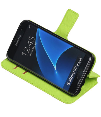 Groen Hoesje voor Samsung Galaxy S7 Edge TPU wallet case booktype HM Book