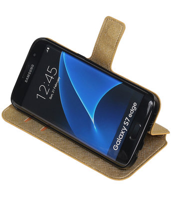 Goud Hoesje voor Samsung Galaxy S7 Edge TPU wallet case booktype HM Book
