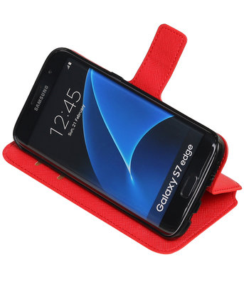 Rood Hoesje voor Samsung Galaxy S7 Edge TPU wallet case booktype HM Book