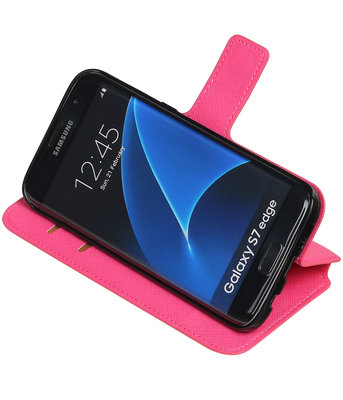 Roze Hoesje voor Samsung Galaxy S7 Edge TPU wallet case booktype HM Book