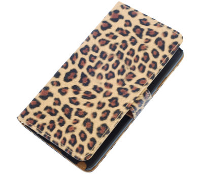 Luipaard booktype wallet cover voor Hoesje voor Huawei Ascend Y511