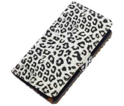 Wit Luipaard booktype wallet cover voor Hoesje voor Huawei Ascend Y511