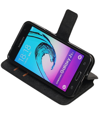 Zwart Hoesje voor Samsung Galaxy J3 TPU wallet case booktype HM Book