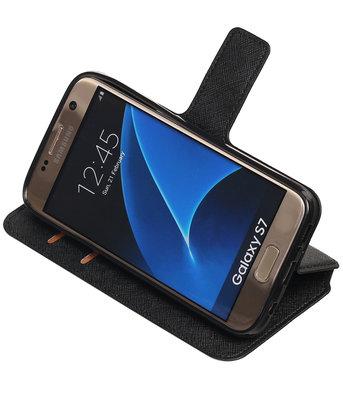 Zwart Hoesje voor Samsung Galaxy S7 TPU wallet case booktype HM Book