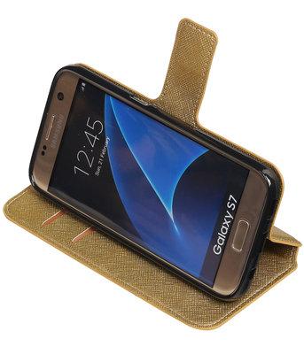 Goud Hoesje voor Samsung Galaxy S7 TPU wallet case booktype HM Book
