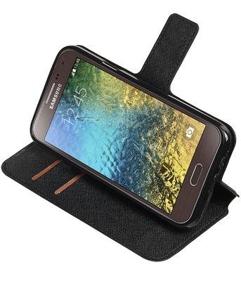 Zwart Samsung Galaxy E5 TPU wallet case booktype hoesje HM Book