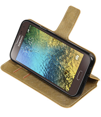 Goud Samsung Galaxy E5 TPU wallet case booktype hoesje HM Book