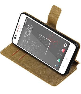 Goud Hoesje voor HTC Desire 825 TPU wallet case booktype HM Book