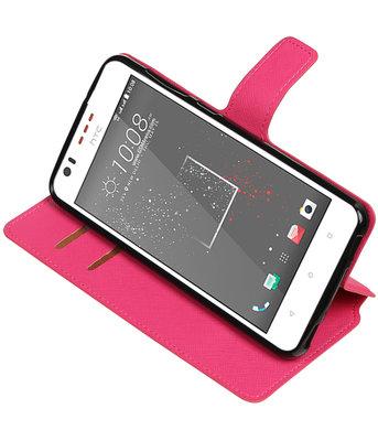 Roze Hoesje voor HTC Desire 825 TPU wallet case booktype HM Book