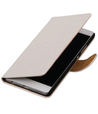 Wit Krokodil booktype wallet cover voor Hoesje voor HTC Desire 825