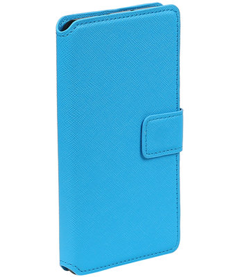 Blauw Samsung Galaxy J1 2015 TPU wallet case booktype hoesje HM Book