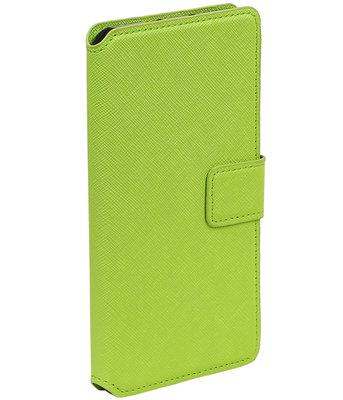 Groen Samsung Galaxy J1 2015 TPU wallet case booktype hoesje HM Book