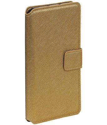 Goud Samsung Galaxy J1 2015 TPU wallet case booktype hoesje HM Book