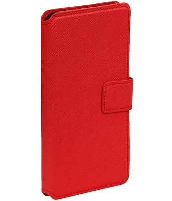 Rood Hoesje voor Samsung Galaxy J1 2015 TPU wallet case booktype HM Book
