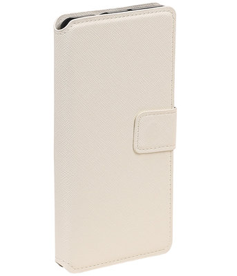 Wit Hoesje voor Samsung Galaxy J1 2015 TPU wallet case booktype HM Book