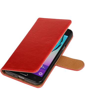 Rood Pull-Up PU booktype wallet voor Hoesje voor Samsung Galaxy J3