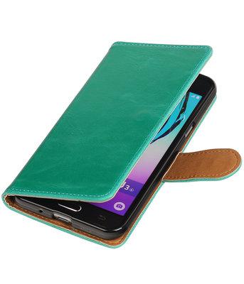 Groen Pull-Up PU booktype wallet voor Hoesje voor Samsung Galaxy J3