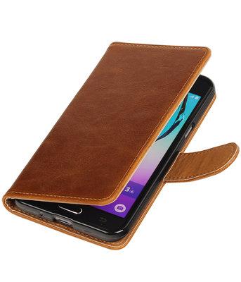 Bruin Pull-Up PU booktype wallet voor Hoesje voor Samsung Galaxy J3