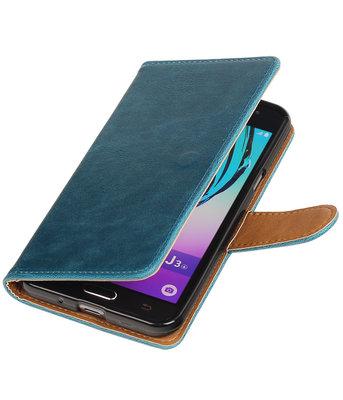 Blauw Pull-Up PU booktype wallet voor Hoesje voor Samsung Galaxy J3