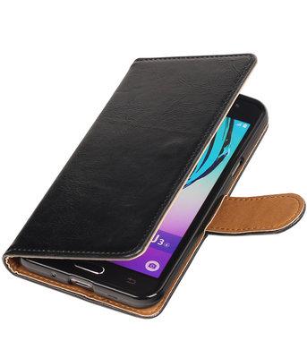 Zwart Pull-Up PU booktype wallet voor Hoesje voor Samsung Galaxy J3