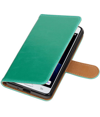 Groen Pull-Up PU booktype wallet voor Hoesje voor Samsung Galaxy J3 Pro