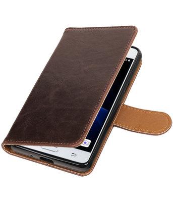 Mocca Pull-Up PU booktype wallet voor Hoesje voor Samsung Galaxy J3 Pro