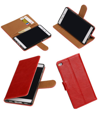 Rood Pull-Up PU booktype wallet voor Hoesje voor Huawei P8