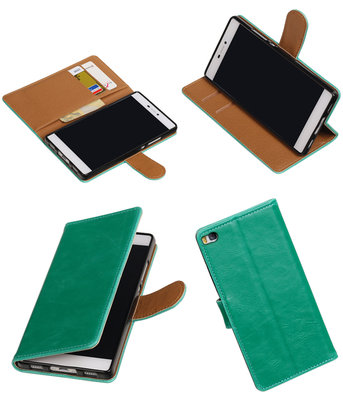 Groen Pull-Up PU booktype wallet voor Hoesje voor Huawei P8