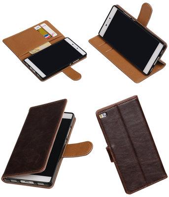 Mocca Pull-Up PU booktype wallet voor Hoesje voor Huawei P8