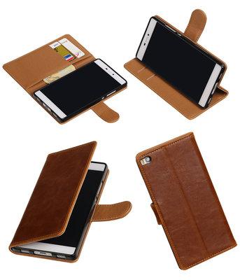 Bruin Pull-Up PU booktype wallet voor Hoesje voor Huawei P8