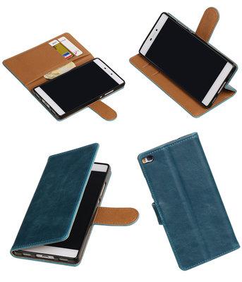 Blauw Pull-Up PU booktype wallet hoesje voor Huawei P8