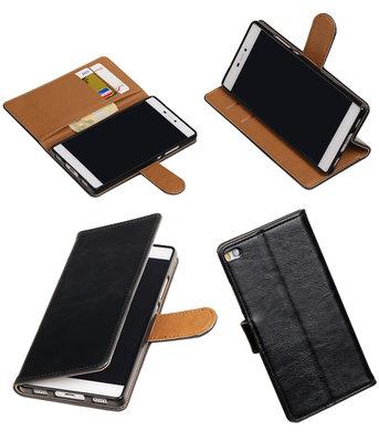 Zwart Pull-Up PU booktype wallet voor Hoesje voor Huawei P8