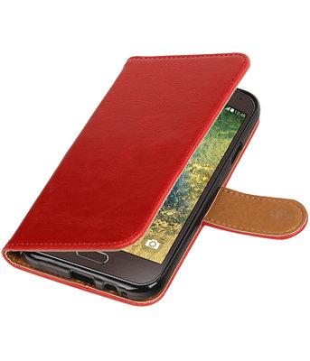 Rood Pull-Up PU booktype wallet voor Hoesje voor Samsung Galaxy E5