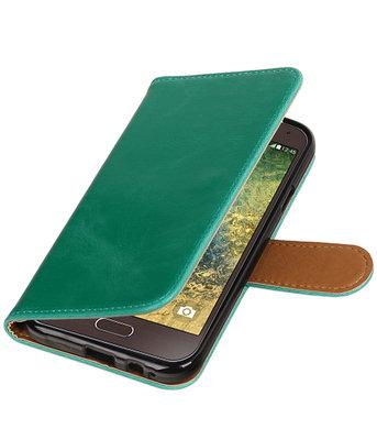 Groen Pull-Up PU booktype wallet hoesje voor Samsung Galaxy E5