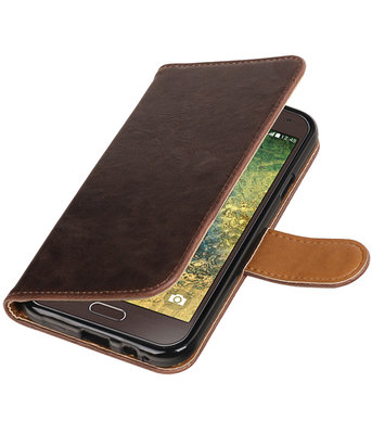 Mocca Pull-Up PU booktype wallet hoesje voor Samsung Galaxy E5