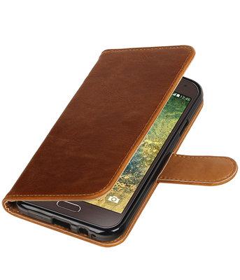 Bruin Pull-Up PU booktype wallet voor Hoesje voor Samsung Galaxy E5