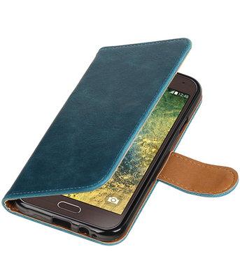Blauw Pull-Up PU booktype wallet voor Hoesje voor Samsung Galaxy E5