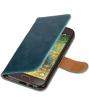 Blauw Pull-Up PU booktype wallet hoesje voor Samsung Galaxy E5