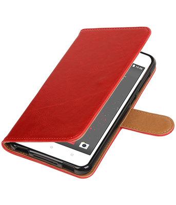 Rood Pull-Up PU booktype wallet voor Hoesje voor HTC Desire 825
