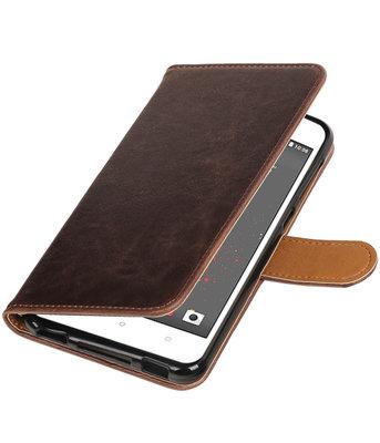 Mocca Pull-Up PU booktype wallet voor Hoesje voor HTC Desire 825