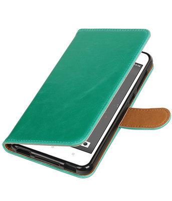 Groen Pull-Up PU booktype wallet voor Hoesje voor HTC Desire 825