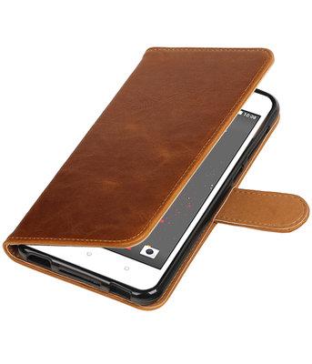 Bruin Pull-Up PU booktype wallet voor Hoesje voor HTC Desire 825