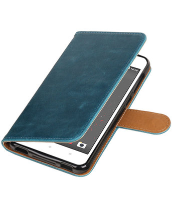 Blauw Pull-Up PU booktype wallet voor Hoesje voor HTC Desire 825