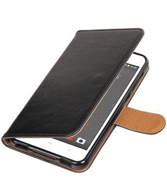 Zwart Pull-Up PU booktype wallet voor Hoesje voor HTC Desire 825